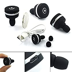 Okeyn Smallest Mini Stereo Bluetooth V3.0 Headphone Headset, In-ear Style Hand-free Wireless Earphone Earbuds with Noise Isolation for iPhone 6 iPhone 6 Plus iPhone 5S 5C 5 iPhone 4S 4,iPad 2 3 4 New iPad, iPod, Samsung Galaxy S5 S4 S3, LG, PC Laptop Android Smart Phones and Other Bluetooth Devices (Black and White)