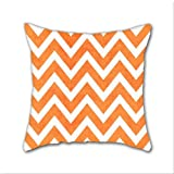Cotton Linen Throw Pillow, Decorative Pillows.? Orange Chevron Cotton Linen Square Decorative Throw Pillow Case Cushion Cover 18 x 18 Inch