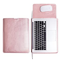 WALNEW Sleek Leather MacBook Air 13 Inch Protective Soft Sleeve Case Cover Macbook Pro retina 13 inch Carry Bag holder with safe interior and exterior mouse pad, Rose Gold