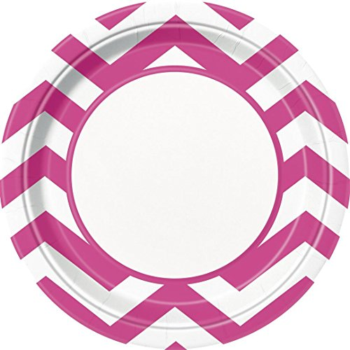 Hot Pink Chevron Dinner Plates
