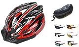 【IZUMIYA】超 軽量 自転車 用 ヘルメット 通勤 サイクリング 安心 安全カラー ヘルメット サングラス 付 (ブラック×レッド)