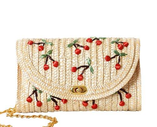 Tonwhar Cherry / Banana Embroidery Straw Woven Messenger Bag Beach Bag (Cherry Pattern) front-598900