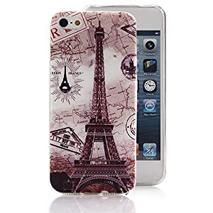 iPhone 5 5S Case, Ludan Painted Series Eiffel Tower Super Lightweight Slim Protective TPU Gel Back Case Cover for 4 inches iPhone 5 5S by Ludan
