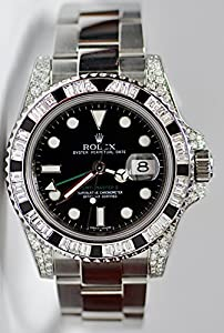 GMT-MASTER II 2 STAINLESS STEEL WATCH WITH 6.50 CT DIAMOND BEZEL 116710