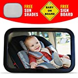 Premium-Baby-Auto-Spiegel-Safe-Extra-Large-Spiegel-fr-Rear-Baby-Sitz-gegenber--Einfach-Voll-einstellbare-und-Kippfunktion-mit-BONUS-Farbtne-und-Baby-an-Bord-Zeichen-installieren