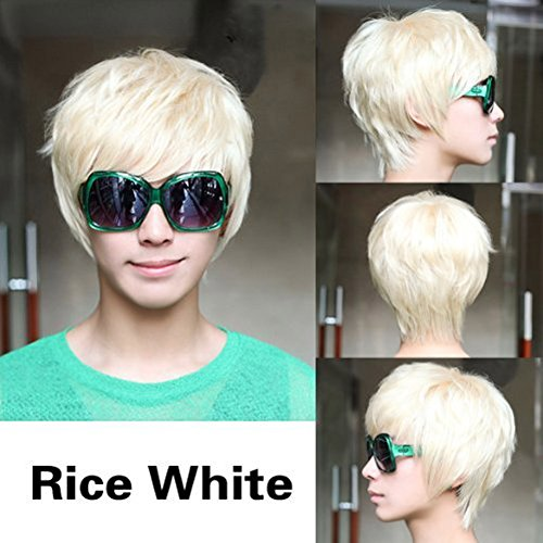 New Fashion Short Platinum Blonde Man Wig