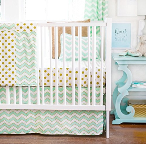 New Arrivals 2 Piece Crib Bed Set, Gold Rush in Mist