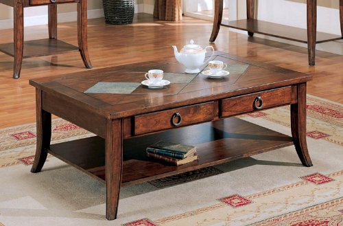 Coaster Coffee Table with Storage Drawers, Rich Brown Finish