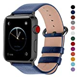 Fullmosa Compatible Smart Watch Band 44mm 42mm 40mm 38mm, Genuine Leather Band Compatible for Watch Strap/Band for Watch Series 4 3 2 1, 44mm 42mm Dark Blue + Smoky Grey Buckle (Color: Dark blue + smoky grey buckle, Tamaño: 42mm(44mm for Series 4))