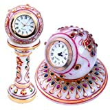 Little India Gold Paint Marble Clock And Marble Round Clock