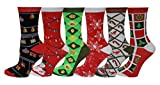 Sumona 6 Pairs Women Colorful Fancy Design Soft & Stretchy Novelty Crew Socks (Merry Christmas)