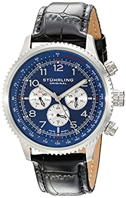 Stuhrling Original Men's 858L.02 Octane Concorso Silhouette Swiss Quartz Multi function Watch with Black Croc-Textured Leather Band