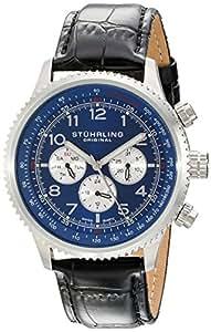 Stuhrling Original Men's 858L.02 Octane Concorso Silhouette Swiss Quartz Multi function Watch with Black Croc-Textured Leather Band