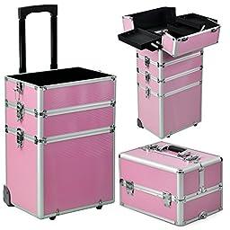 Pro Makeup Train Case, Interchangeable Aluminum Cosmetic Rolling Train Case, Pink