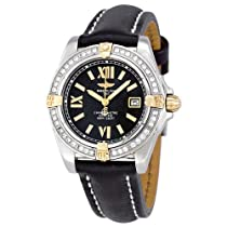Breitling Lady Cockpit Diamond Black Dial Black Leather Ladies Watch B7135653-B910BKLT