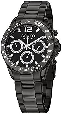 SO&CO New York Men's Black luminous Quartz Day and Date Stainless Steel Monticello Watch Collection