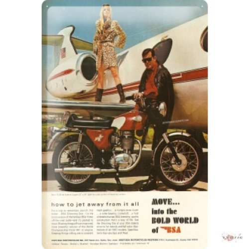 Tin Sign MOVE into the bold world of BSA Motorcycle Jet Airplane Man Woman 20x30 cm metal shield Wall Art Deco decoration retro Advertising Vintage