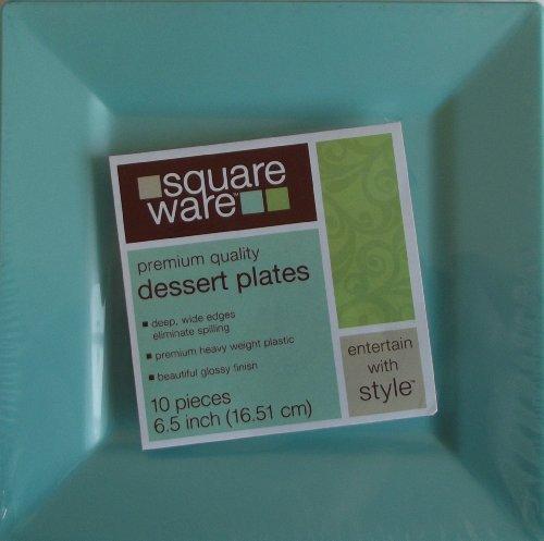 Plastic Teal Square Dessert Plates