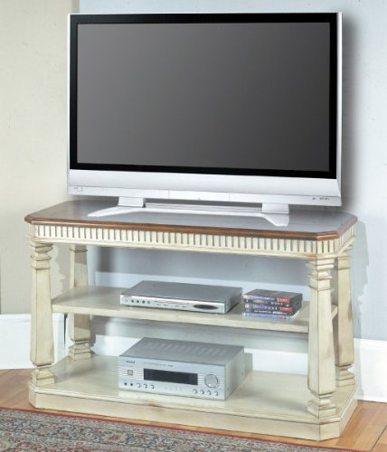 "Westminster Sofa / TV Console (Vintage Cream Crackle / Dark Red Walnut) (30""H x 50""W x 20""D)"