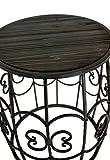 2er-Set-Blumentisch-Beistelltisch-Gartentisch-Tisch-aus-Schmiedeeisen-Sitzset-Hocker