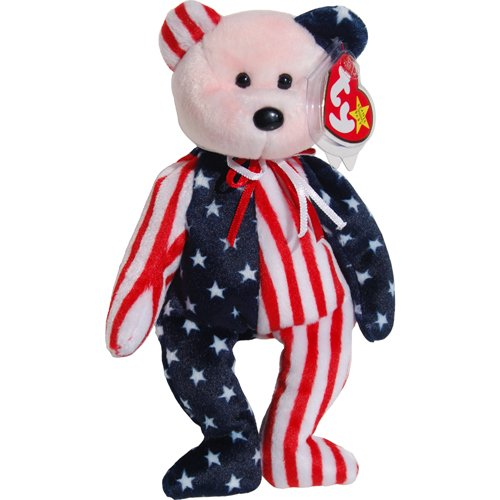 Pink Face Spangle the Stars & Stripes Patriotic Teddy Bear - Ty Beanie Babies - 1