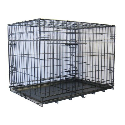 Two Door Folding Metal Cage with Divider - 48-Inches