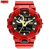 SMAEL AL35 Men's Sports Analog Digtal Wrist Watch Dual Quartz Movement Military Time Water Resistant with Backlight (Red) (Color: Red)