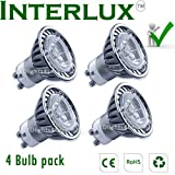 (4 bulb pack) 3W Interlux™ GU10 Warm White Downlights; High power USA chip LEDby Interlux