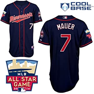 Joe Mauer Minnesota Twins Alternate Navy Authentic Cool Base Jersey w  2014 All-Star... by Majestic