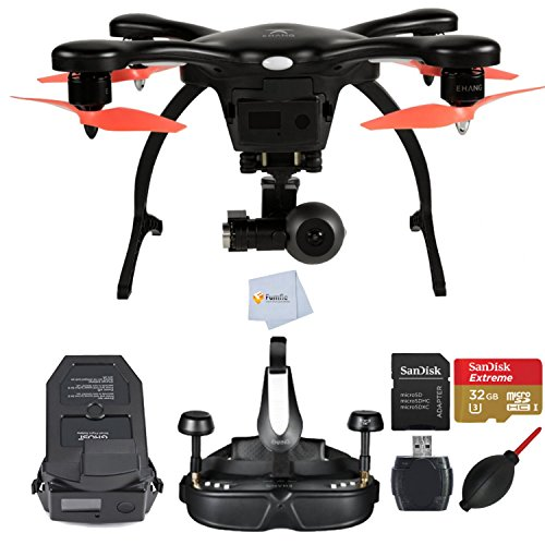 EHANG GHOSTDRONE 2.0 VR Black/Orange Android Compatible RTF (Ready-To-Fly) bundle comes with Extra GHOSTDRONE 2.0 Smart Battery + SanDisk 32GB Extreme microSD + High Speed Card Reader & More!!!