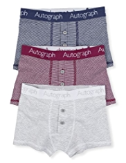 3 Pack Autograph Cotton Rich Fine Striped Trunks