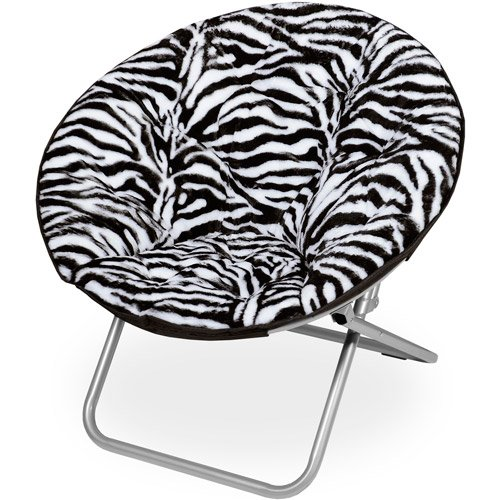 Microplush Folding Saucer Chair, Zebra Print