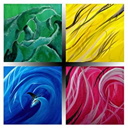 Elements PhotoArt Anywhere Movable Fine Wall Art: Earth, Wind, Fire & Rain Set of Four by Jimmy Golden 12x12