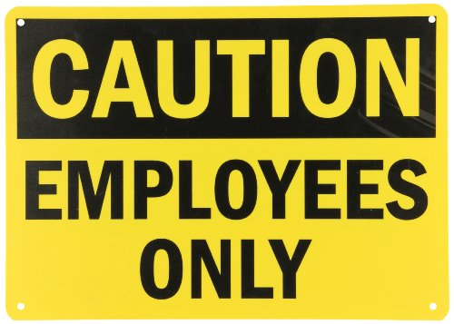 "Smartsign Plastic Osha Safety Sign, Legend ""Caution: Employees Only"", 10"" High X 14"" Wide, Black On Yellow"