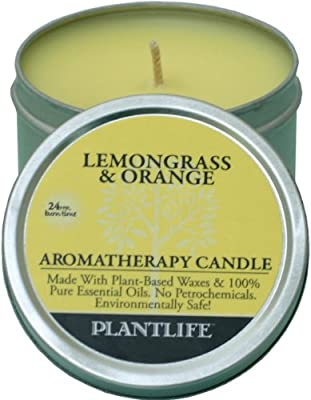 Best Cheap Deal for Lemongrass & Orange Aromatherapy Candle-Made with 100% Pure Essential Oils - 3oz Tin from Plantlife - Free 2 Day Shipping Available