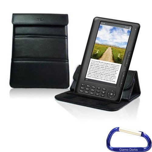Gizmo Dorks Leather Case / Stand (Black) with Carabiner Key Chain for the Ematic 7-inch TFT Color eBook Reader