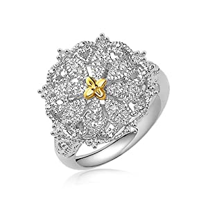 Designer Vintage Inspired Sterling Silver and 14K Yellow Gold Ring with Diamonds