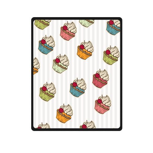 Personalized Fashion Seamless Pattern With Cherry Cream Cakes Picture Fleece Blanket 40 X 50 back-1069917