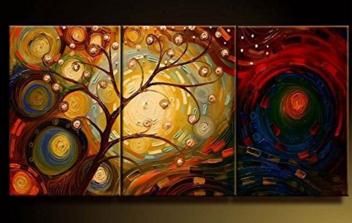 Cherish Art 100% Hand Painted Oil Paintings Gift Tree 3 Panels Wood Inside Framed Hanging Wall Decoration