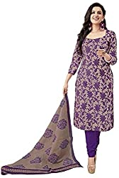 Galaxy Women's Printed Polyester Unstitched Regular Wear Dress Material (Free Size_Purple)
