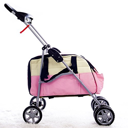 Pink 3 in 1 Pet Stroller/Carrier/House