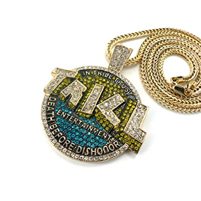 Amazon.com: Gold Iced Out Trill Entertainment Pendant with