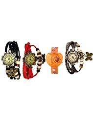 ANALOG KIDS WATCH WITH HELLO KITTY CARTOON PRINTED ON DIAL AND STRAP WITH 3 WOMEN BRACELET WATCH-SET OF 4