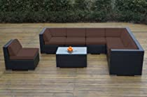 Hot Sale Ohana Collection PN0804SBR Sunbrella Outdoor Patio Wicker Furniture 8-Piece Couch Set with Free Patio Cover, Brown