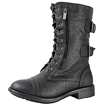 Top Moda Pack-72 Women's Back Buckle Lace Up Combat Boots Black 10
