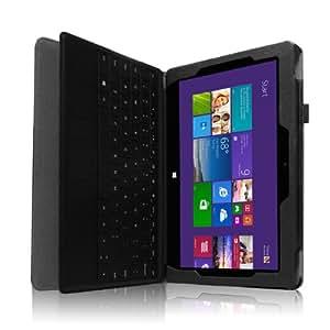 Microsoft Surface Pro / Pro2 PUレザー シンプル カバー ケース ( マイクロソフト サーフェス Windows 8 Pro 搭載10.6型 タブレット 128GB 256GB 対応) Soft PU Leather Cover Case スタンド機能 / タッチペン収納ゴム付き / キーボード対応カバー 【 high quality Black(黒)】