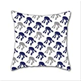 Cotton Linen Throw Pillow, Decorative Pillows.? Navy And Gray At-At'S Cotton Linen Square Decorative Throw Pillow Case Cushion Cover 18 x 18 Inch