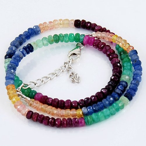 925 Sterling Silver 4mm Multicolour Sapphire Beads Strand Necklace Size 18 Inches