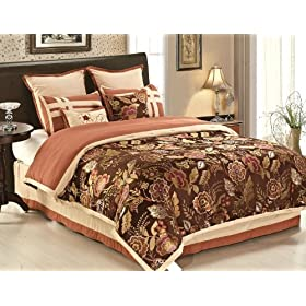 8 Pieces Dark Chocolate Embroidered Multi-color Peony Floral Comforter Set Bed-in-a-bag King Size