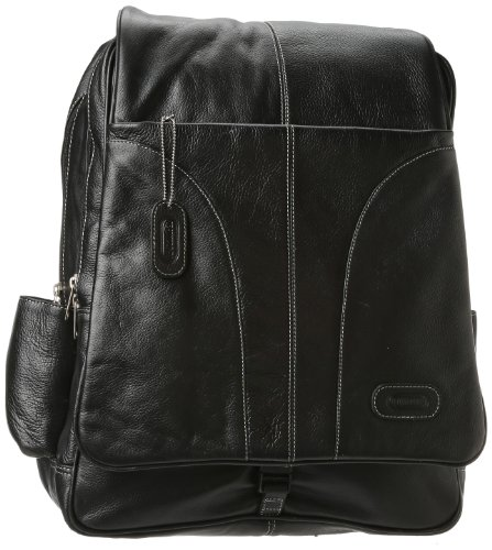 Leatherbay Laptop Leather Backpack,Black,one size